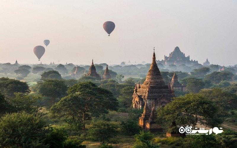 7. باگان (Bagan) را از داخل یک بالون تماشا کنید، میانمار